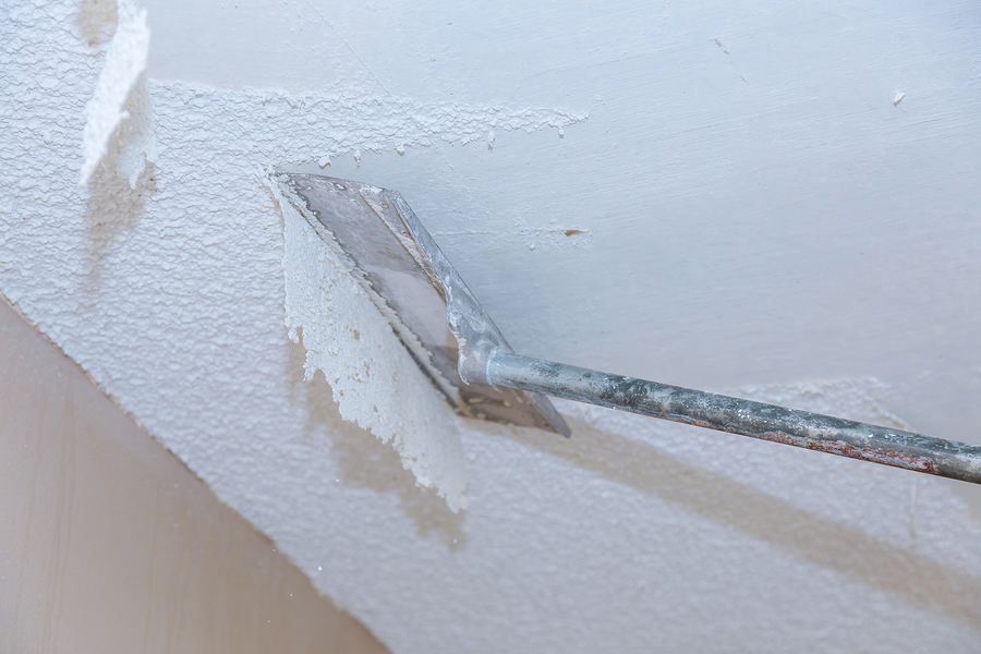 home ceiling drywall demolition popcorn ceiling texture unfinished renovated